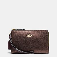 Coach Double Corner Zip Wristlet In Colorblock Leather Light Gold Oxblood Bronze