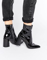 Mango Patent Point Block Heel Ankle Boot Black