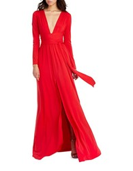 Halston Belted Long Sleeve Gown Red