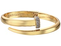 Vince Camuto Flat Nail Head Hinged Cuff Bracelet Gold Crystal Bracelet