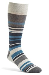 Nordstrom Men's 'Blocked Stripe' Socks Light Heather Grey Teal