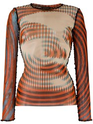 Jean Paul Gaultier Vintage 'Face And Spiral' Printed Top Orange