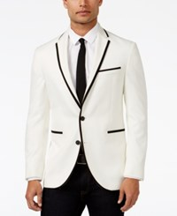 Kenneth Cole New York Classic Fit White With Black Slim Dinner Jacket