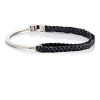 Title Of Work Men's Sterling Silver And Black Leather Bracelet Silver