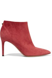 Valentino Suede Ankle Boots Crimson