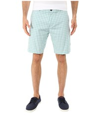 Lacoste Woven Check Pattern Short White Alpine Green Galapagos Men's Shorts