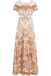 Marchesa Notte Embroidered Tulle Gown Ivory