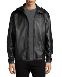 Theory Byrn Hooded Leather Jacket Black Women's