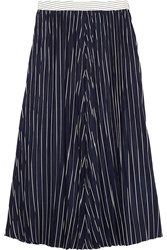 Joseph Pleated Striped Silk Midi Skirt