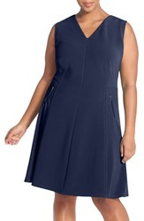 Plus Size Women's Halogen Zip Pocket V Neck A Line Dress Navy Peacoat