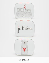 Paperchase Valentines Set Of 3 Je T'aime Mini Tins Multi