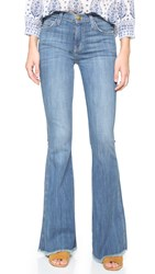 Current Elliott The High Rise Low Bell Jeans Blue Ocean With Raw Hem