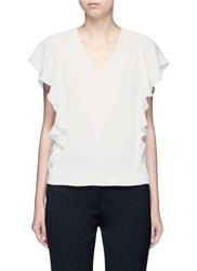 Elizabeth And James 'Stella' Ruffled Butterfly Sleeve Crepe Top White
