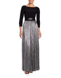 Vince Camuto Three Quarter Sleeve Fit And Flare Gown Black Silver