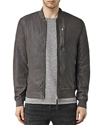 Allsaints Kino Leather Regular Fit Bomber Jacket Anthracite Grey