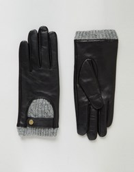 Asos Leather And Cable Knit Gloves With Touch Screen Black