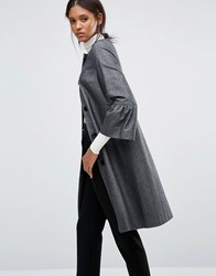 Helene Berman Gigi Coat With Fluted Sleeves In Textured Black And Silver Black Silver