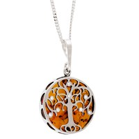 Be Jewelled Sterling Silver Amber Tree Of Life Round Pendant Necklace Silver Orange