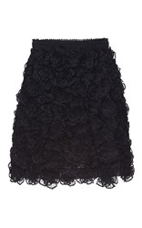 Andrew Gn Floral Embroidered Mini Skirt Black