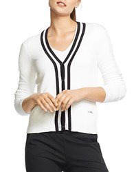 Lauren Ralph Lauren Striped Neck Cotton Cardigan White Black