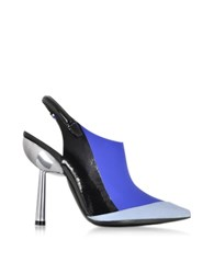 Kenzo Blue Rubber And Leather Slingback Pump Multicolor