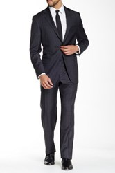 Hickey Freeman Grey Striped Two Button Notch Lapel Wool Suit Gray