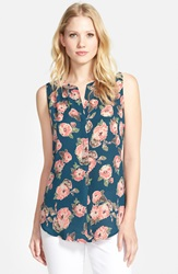 Sleeveless High Low Top Teal Floral