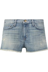 Current Elliott The Boyfriend Frayed Stretch Denim Shorts Light Denim