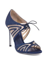Rene Caovilla Mesh And Strass Peep Toe Sandals Blue