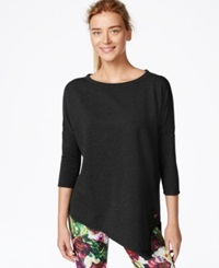 Betsey Johnson Asymmetrical Hem Three Quarter Sleeve Top