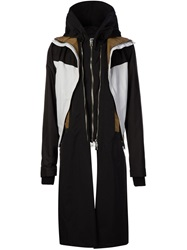 Hood By Air Panelled Hood Coat Black