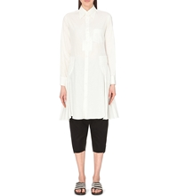 Yohji Yamamoto Pleated Cotton Shirt Dress White