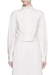 Helen Lee 'Lotus' Ruffle Stand Collar Cropped Shirt White