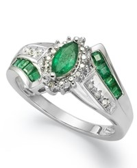 Macy's Gemstone 1 1 5 Ct. T.W. And Diamond Accent Ring In Sterling Silver Green
