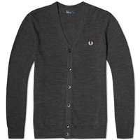 Fred Perry Budding Yarn Tipped Cardigan Vintage Graphite Marl