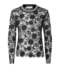 Sandro Easy Floral Lace Top Female Grey
