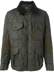 Burberry Brit Multi Pockets Quilted Jacket Green