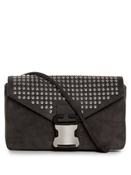Christopher Kane Devine Large Suede Cross Body Bag Grey Multi