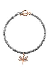 Dani G Jewelry 14K Rose Gold Plated Sterling Silver Cz Dragonfly Distressed Bead Toggle Bracelet No Color