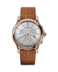 Emporio Armani Swiss Made Rose Gold Ion Plated Stainless Steel Watch 42Mm Rose Caramel