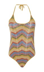 All That Remains Honey Chevron Crochet One Piece Yellow Red Blue