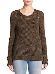 Eileen Fisher Cotton Open Stitch Crewneck Top Olive
