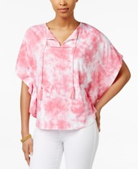 American Living Tie Dyed Poncho Top Only At Macy's Pink Multi