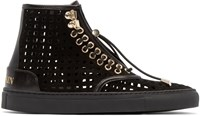 Balmain Black Suede Perforated High Top Sneakers