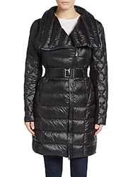 Saks Fifth Avenue Belted Nylon Coat Black