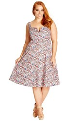 Plus Size Women's City Chic 'Miss Sicily' Print Notch Neck Sundress