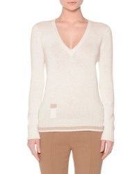 Agnona Long Sleeve V Neck Lipstick Sweater White