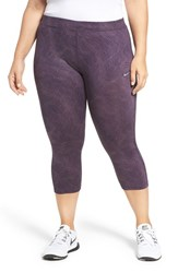 Nike Plus Size Women's Power Essential Crop Running Tights Purple Dynasty Silver