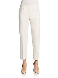 Lafayette 148 New York Cropped Stretch Cotton Pants Beige