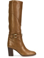 Chloe Buckled Knee High Boots Brown